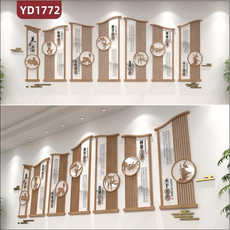 国学文化教育机构文化墙新中式风学校简介发展历程几何组合装饰挂画