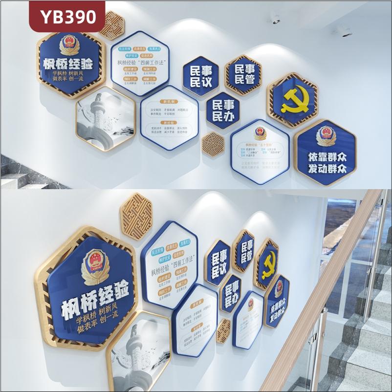 定制创意设计公安警营文化墙枫桥经验依靠群众发动群众立体宣传墙