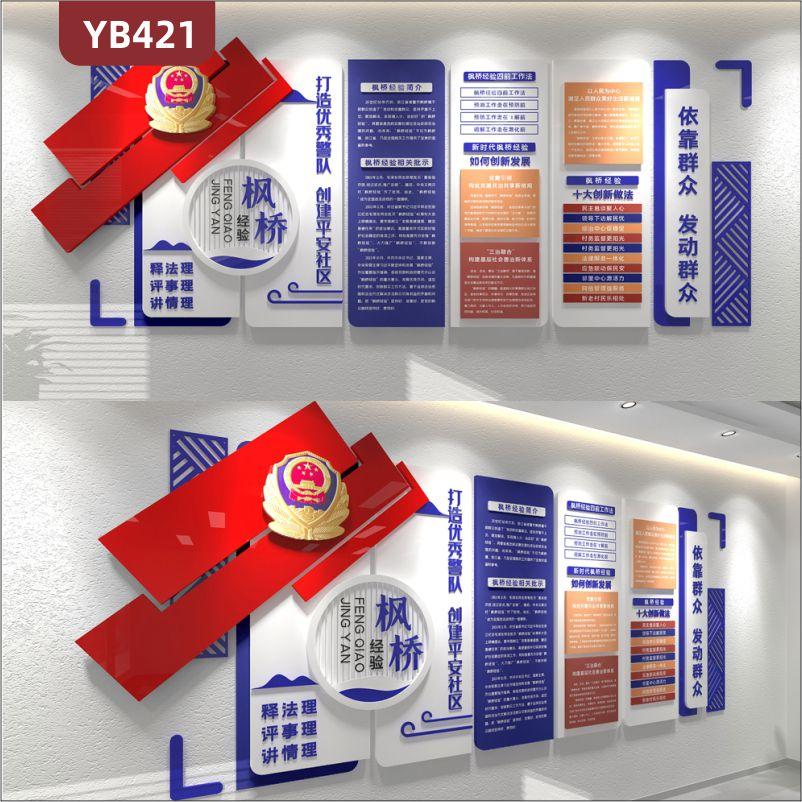枫桥经验公安警营文化墙打造优秀警队创建平安社区3D立体展示墙贴