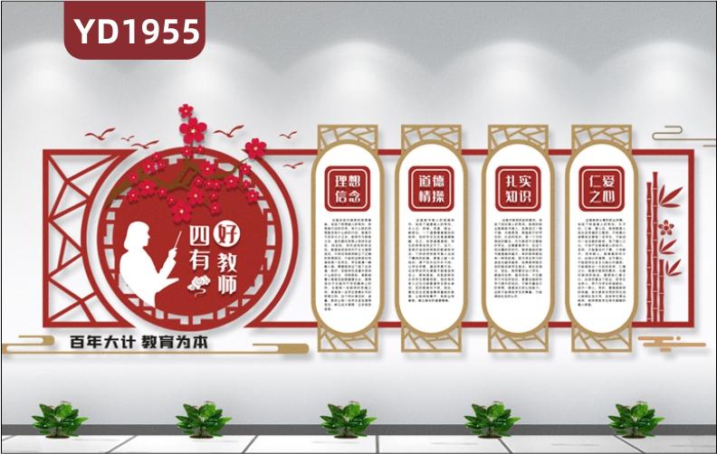 四有好教师师风师德文化宣传墙新中式教师职业道德规范立体镂空装饰墙