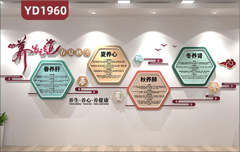 养生会所文化墙中医养生之道宣传墙健康理念标语几何立体装饰挂画