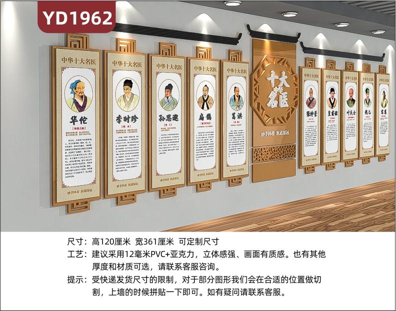 中医养生文化宣传墙中华十大名医风采展示墙走廊几何组合挂画装饰墙