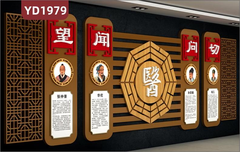 中医四诊文化宣传墙中华名医简介展示墙过道传统风望闻问切理念装饰挂画