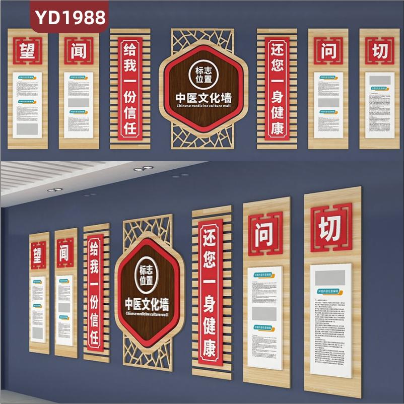 中医文化宣传墙望闻问切四诊简介展示墙科室新中式组合挂画装饰墙