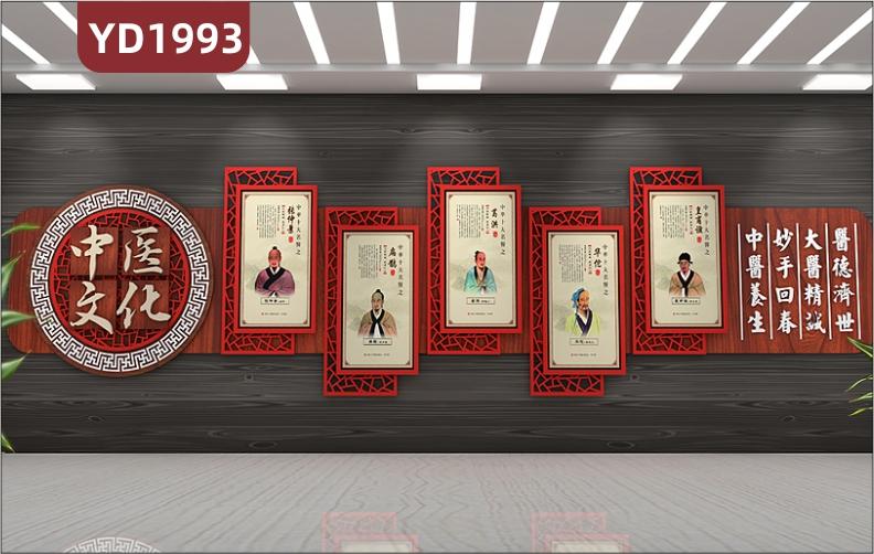 中国红中医文化宣传墙古代医学家风采简介展示墙过道医德济世立体标语