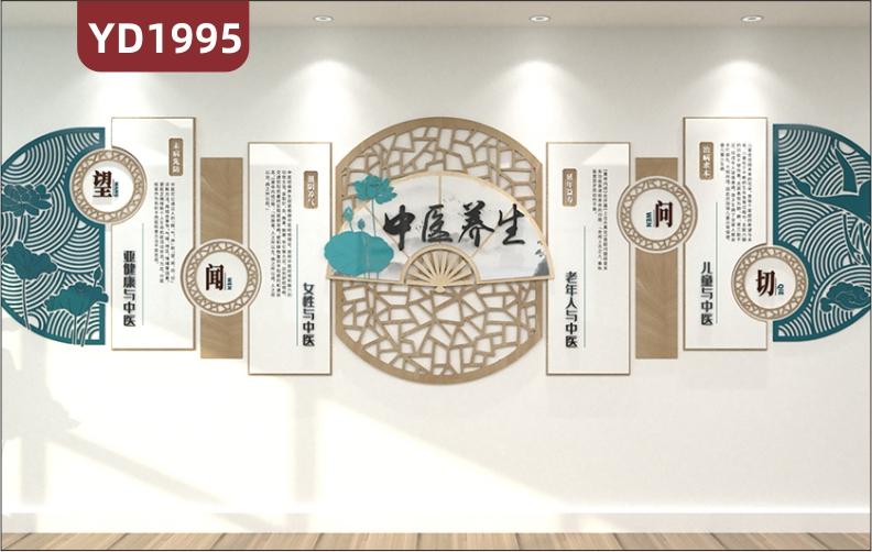新中式中医养生会所调理文化墙走廊望闻问切几何组合挂画装饰墙贴