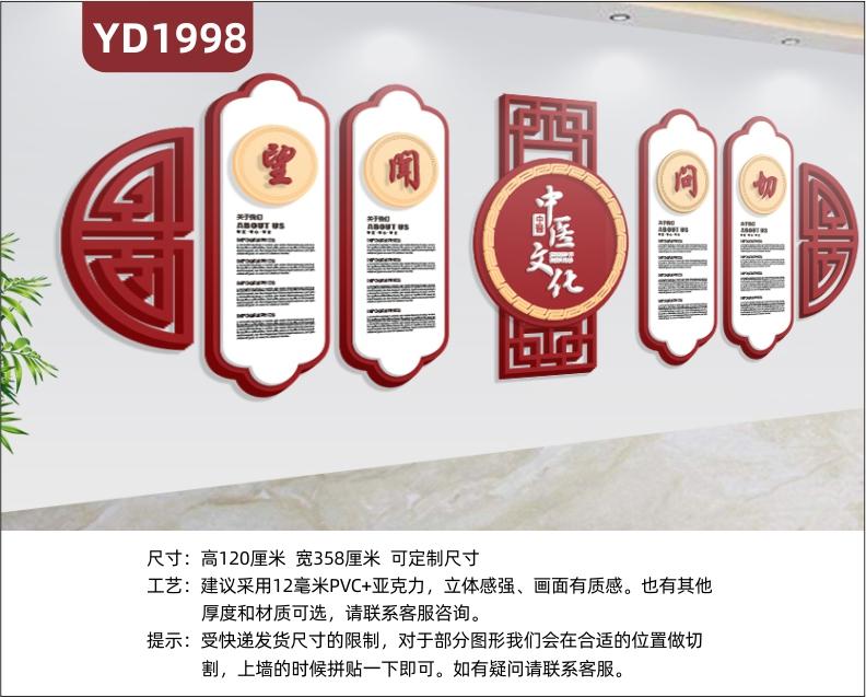 中医文化宣传墙走廊中国红望闻问切四诊简介几何组合挂画立体装饰墙