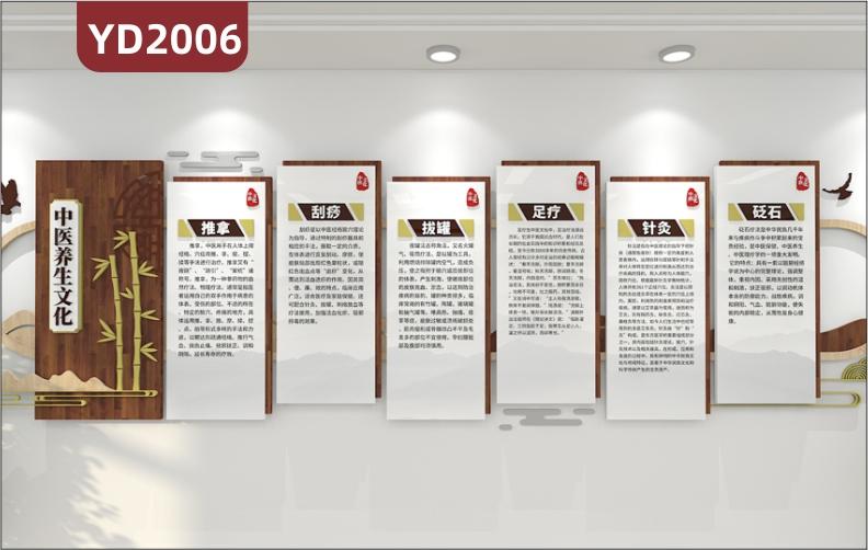 中医养生会馆文化宣传墙走廊传统调理方法几何组合挂画立体装饰墙