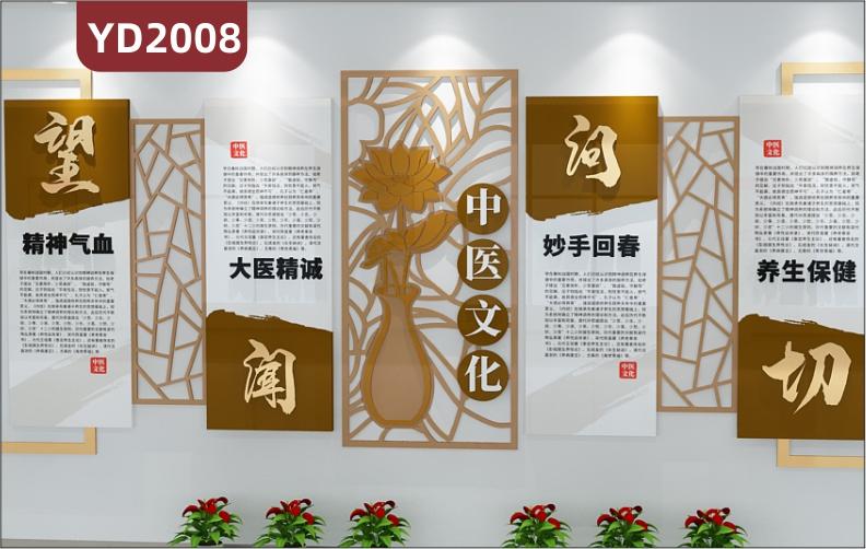 中医文化养生保健宣传墙望闻问切四诊简介展示墙新中式几何组合装饰挂画