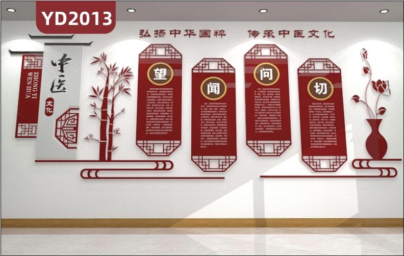 弘扬中华国粹宣传标语中医四诊简介展示墙走廊新中式立体组合挂画装饰墙