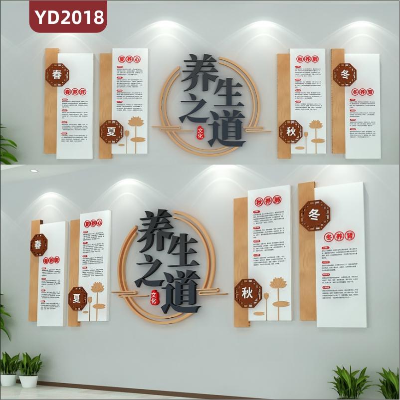 四季养生之道文化宣传墙走廊春夏秋冬内脏调理方法立体组合装饰墙贴