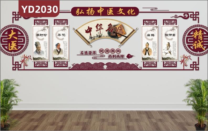 弘扬中医文化宣传标语中华名医风采简介展示墙走廊新中式立体镂空装饰墙