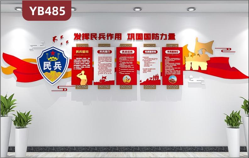 民兵誓词文化墙新中式发挥民兵作用巩固国防力量理念标语立体组合装饰墙贴