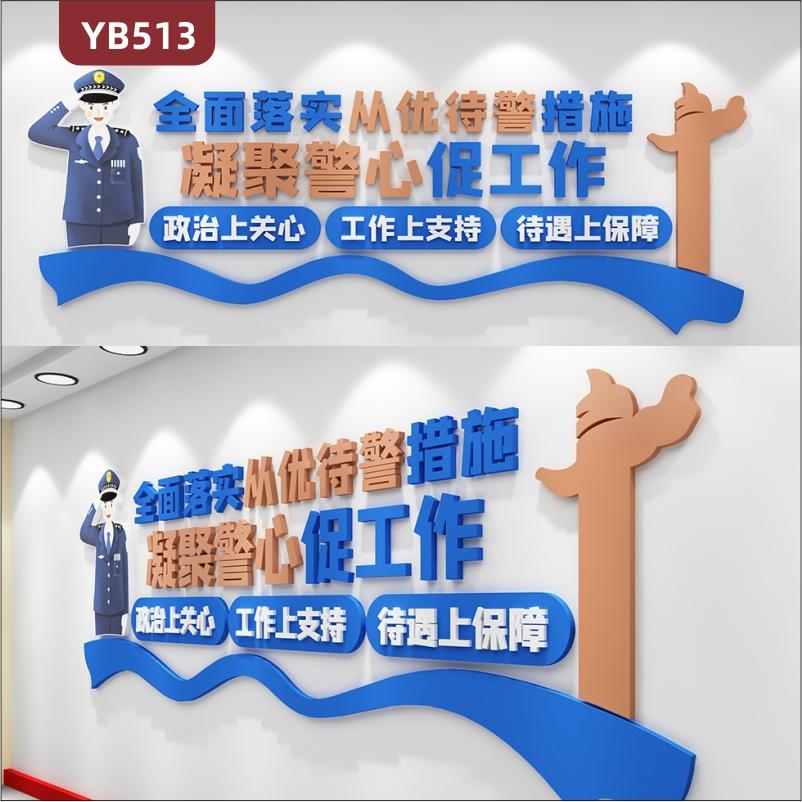 警营文化墙公安局走廊全面落实从优待警措施宣传标语组合装饰墙贴