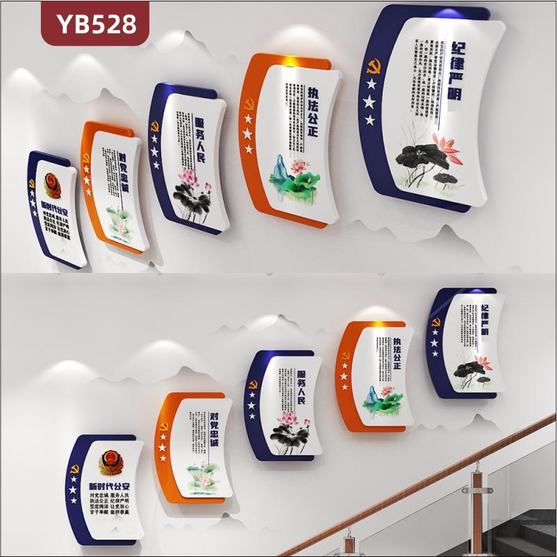 新时代公安对党忠诚服务人民警营文化墙公安局楼梯组合挂画装饰墙