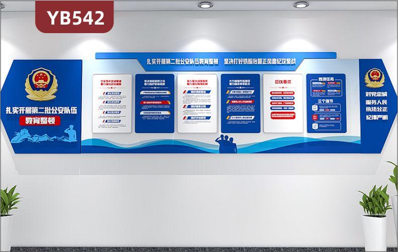 扎实开展公安队伍教育整顿四项任务三个环节简介展示墙走廊组合挂画装饰墙