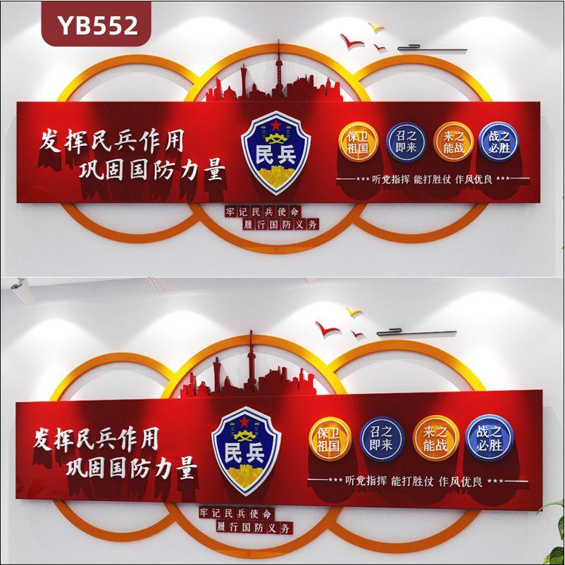 民兵服务站文化墙牢记民兵使命履行国防义务理念标语展示墙中国红立体装饰墙