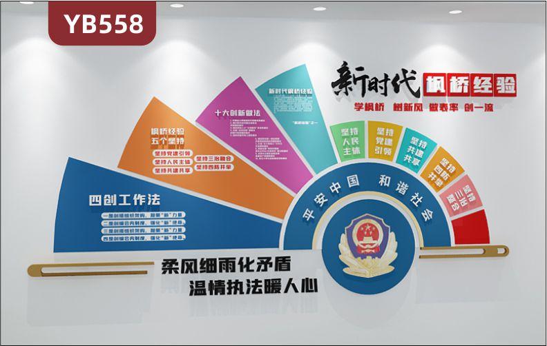 平安中国和谐社会新时代枫桥经验文化墙公安局四创工作法简介展示墙