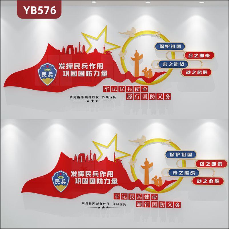 民兵服务站文化墙听党指挥能打胜仗理念标语展示墙中国红立体装饰墙贴