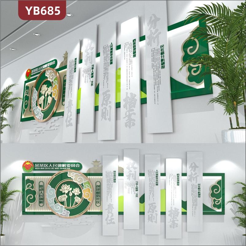 人民调解委员会岗位责任制度简介展示墙走廊新中式组合挂画装饰墙