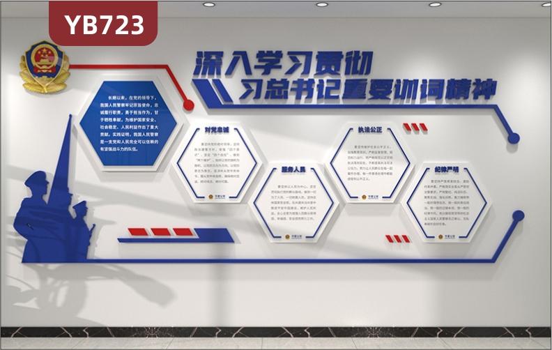 深入贯彻学习训词精神公安局宣传文化墙走廊警察职业理念几何组合装饰墙